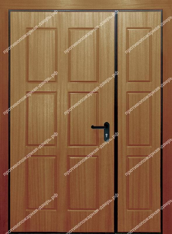 полуторная глухая дверь Ei30 с выдавленным рисунком 07